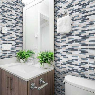 Dolphin Tail Blue Interlocking 9.75 in. x 12 in. x 6 mm Glass Mosaic Tile