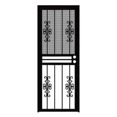 32 in. x 80 in. Watchman Duo Black Recessed Mount All Season Security Door with Insect Screen and Glass Inserts