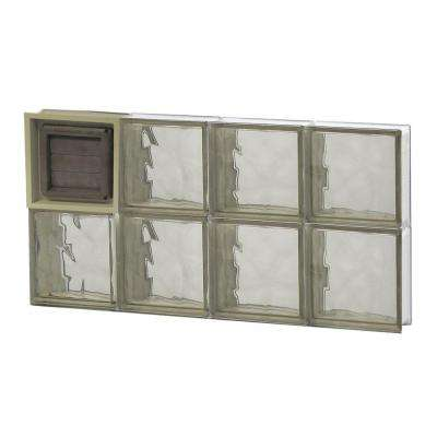 31 in. x 15.5 in. x 3.125 in. Wave Pattern Bronze Glass Block Window with Dryer Vent