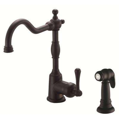 Opulence Single-Handle Standard Kitchen Faucet with Side Sprayer in Satin Black
