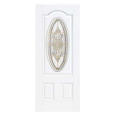 36 in. x 80 in. New Haven Three Quarter Oval Lite Primed Smooth Fiberglass Prehung Front Door with No Brickmold