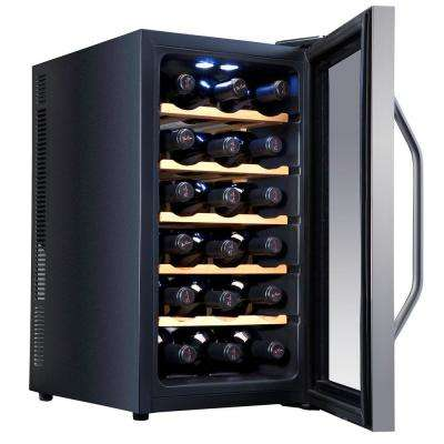 18 Bottle Premium Thermoelectric Freestanding Wine Cooler Fridge Cellar Refrigerator - Stainless Steel with Wood Shelves