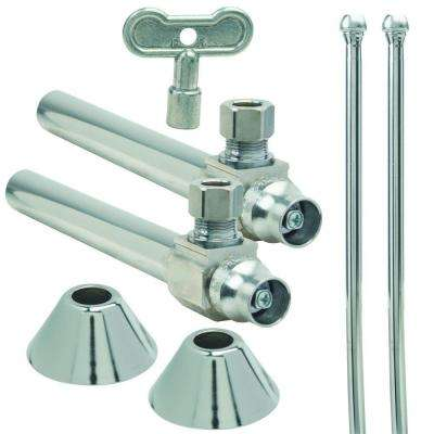 Faucet Kit: 1/2 in. Nom Sweat x 3/8 in. Comp 1/4 Turn Angle Ball Valve with Key, 5 in. Extension, 12 in. Riser, Flange