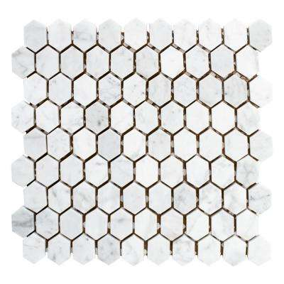 Carrara Constellation 10-7/8 in. x 11-5/8 in. x 8 mm Marble Mosaic Tile