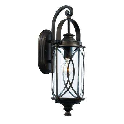 1-Light Rubbed Oil Bronze Outdoor Crossover Wall Lantern