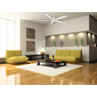 Zudio 56 in. Indoor Snow White Ceiling Fan with Universal Wall Control