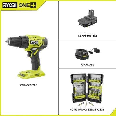 18-Volt Cordless ONE+ 1/2 in. Drill/Driver Kit w/(1) 1.5 Ah Battery and Charger and Impact Rated Driving Kit (40-Piece)