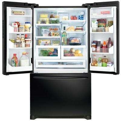 27.6 cu. ft. Non-Dispenser French Door Refrigerator in Black