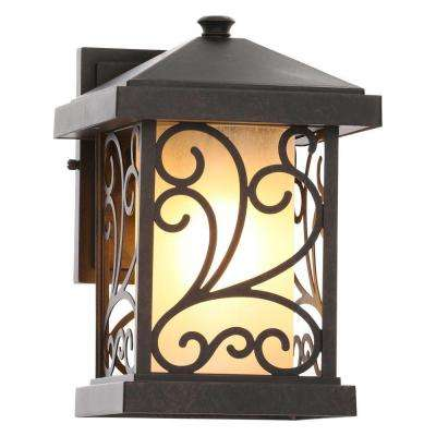 Cypress Collection Wall-Mount Outdoor 1-Light Forged Bronze Lantern