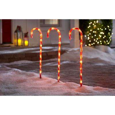 27 in. Lighted Candy Cane Pathway Light (3-Set)