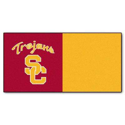 NCAA - University of Southern California Maroon and Gold Nylon 18 in. x 18 in. Carpet Tile (20 Tiles/Case)