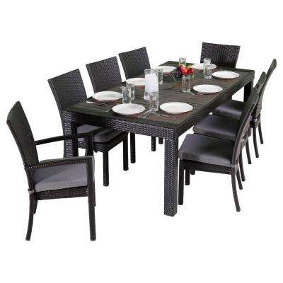 Deco 9-Piece Patio Dining Set with Charcoal Grey Cushions