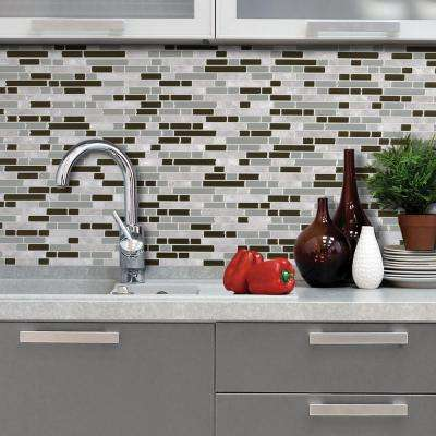 Bellagio Grigio 10.125 in. x 10 in. Peel and Stick Mosaic Decorative Wall Tile in Brown (6-Pack)
