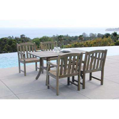 Renaissance Acacia 5-Piece Patio Dining Set with 35 in. W Table and Arched Slat-Back Armchairs