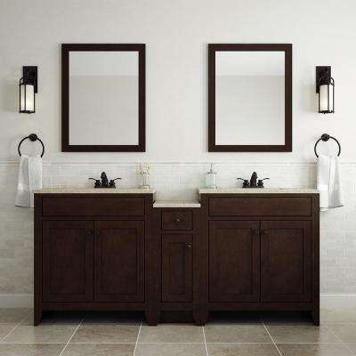 Modular 30.5 in. W Bath Vanity in Java with Solid Surface Vanity Top in Cappuccino with White Sink