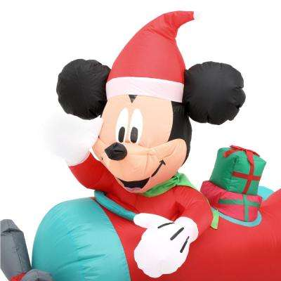 Holiday 4.50 ft. W Pre-Lit Hanging Inflatable Mickey in Plane Scene
