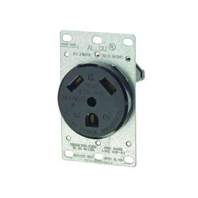 30 Amp Flush-Mount Power Single Outlet, Black