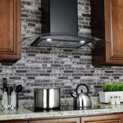 36 in. Convertible Stainless Steel Wall Mount Range Hood in Black with LED Tempered Glass and Push Button Controls