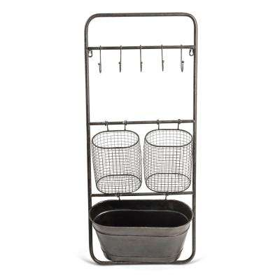15 in. x 36 in. Metal Rack with Baskets and Hooks