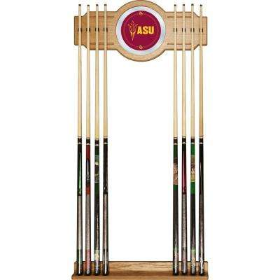 Arizona State University 30 in. Wooden Billiard Cue Rack with Mirror