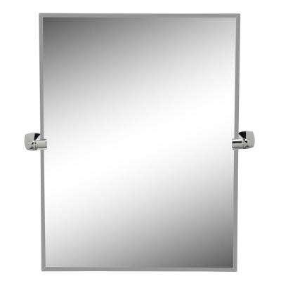 Jewel 32 in. x 28 in. Frameless Rectangle Mirror in Chrome