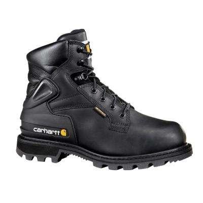 Men's Black Leather Waterproof Lug Bottom Internal Met Guard Steel Safety Toe Lace-up Work Boot