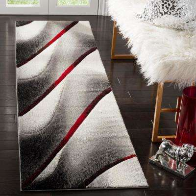 Hollywood Gray/Red 2 ft. 3 in. x 10 ft. Runner Rug