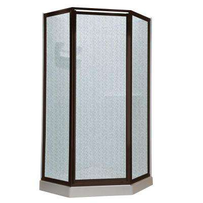 Prestige 24.1 in. x 68.5 in. Neo-Angle Shower Door in Oil Rubbed Bronze with Hammered Glass