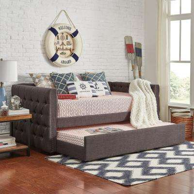 Lincoln Park Dark Grey Button Tufted Trundle Daybed