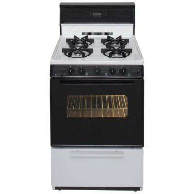 24 in. 2.97 cu. ft. Freestanding Sealed Burner Spark Ignition Gas Range in White