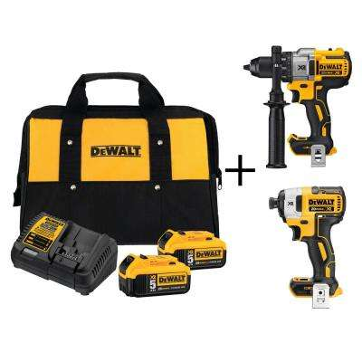 20-Volt MAX Lithium-Ion 5.0 Ahr Starter Kit with Bonus Bare XR Brushless Drill and Impact Driver