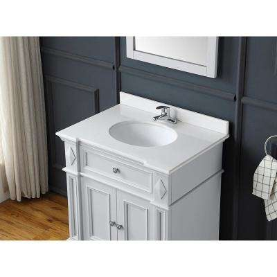 Barnsley 31 in. W Bath Vanity in Dove Grey with Cultured Marble Vanity Top in White with White Basin