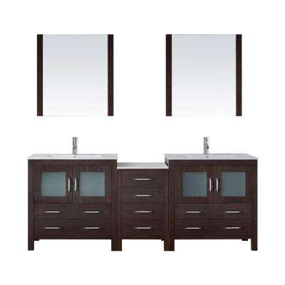 Dior 82 in. W x 18.3 in. D Vanity in Espresso with Ceramic Vanity Top in White with White Basin and Mirror