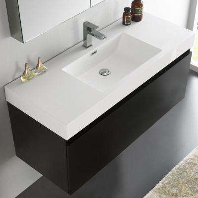 Mezzo 48 in. Vanity in Black with Acrylic Vanity Top in White with White Basin and Mirrored Medicine Cabinet