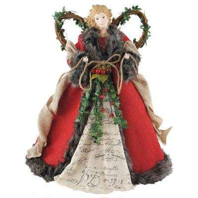16 in. Angel Tree Topper Red Homespun with Garland