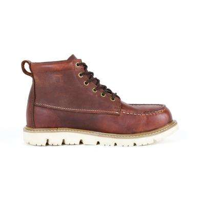 Canton Men's Brown Leather Soft Toe Moc Toe Work Boot