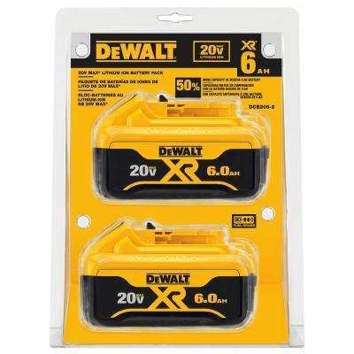 20-Volt MAX Lithium-Ion 6.0Ah Battery Pack (2-Pack)