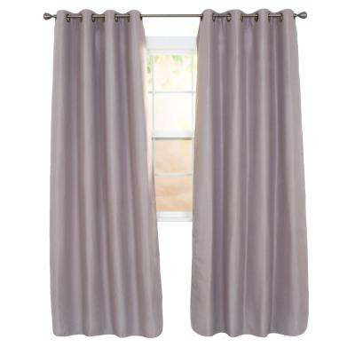 Linen Look Silver Polyester Blackout Curtain