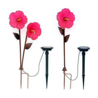 Hibiscus 3-Head Bronze Solar LED Path Light