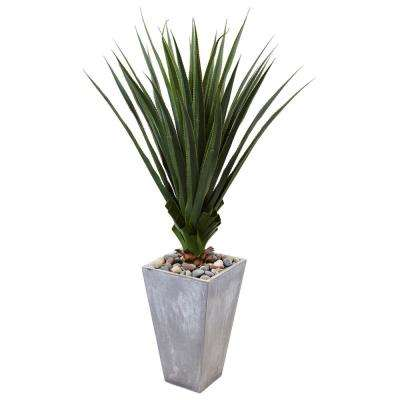 Indoor/Outdoor 5 ft. H Spiked Artificial Agave in Cement Planter