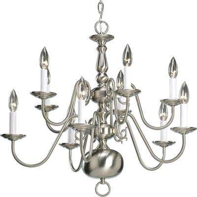 Americana Collection 10-Light Brushed Nickel Chandelier