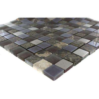 Splashback Tile Tapestry Pantheon Marble and Glass Mosaic Floor and Wall Tile - 3 inch x 6 inch x 8 mm Tile Sample