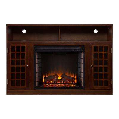 Amelia 48 in. Freestanding Media Electric Fireplace in Espresso
