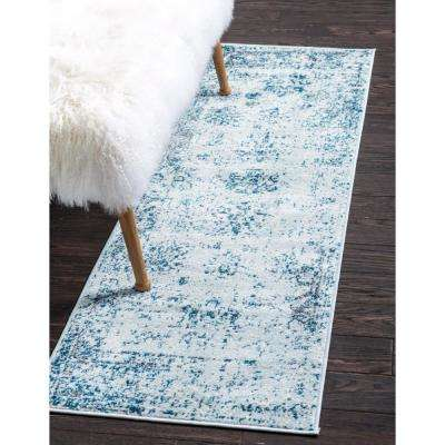 Sofia Casino Light Blue 3' 3 x 16' 5 Runner Rug