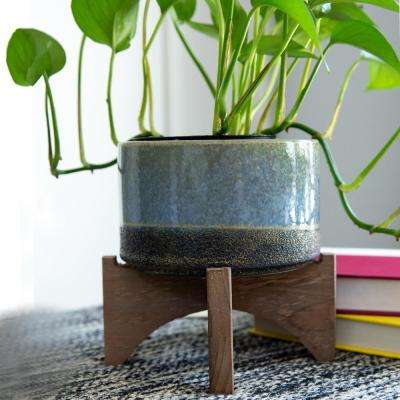 5.1 in. Blue Ceramic Lava Pot on Wood Stand Mid-Century Planter