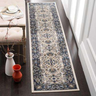 Carolina Cream/Dark Blue 2 ft. x 10 ft. Runner Rug
