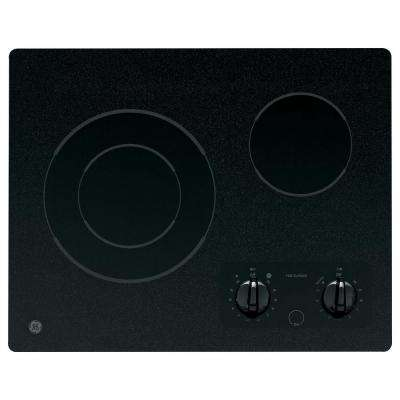 GE 21 in. Glass Ceramic Electric Cooktop in Black with 2 Elements GE