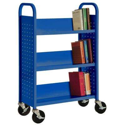32 in. W x 14 in. D x 46 in. H Single Sided 3-Sloped Shelf Booktruck in Ocean