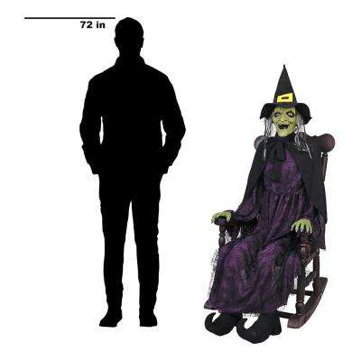 61 in. Animated Witch in Rocking Chair with LED Eyes
