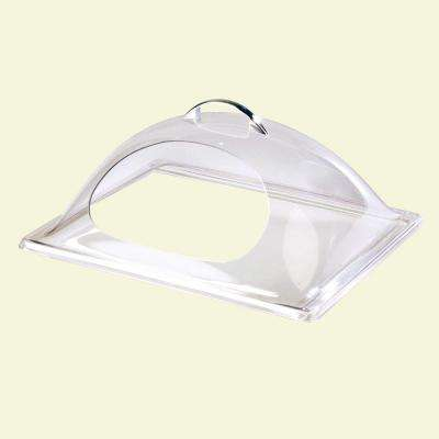 10.75 in. x 13.25 in. Polycarbonate Dome Cover for Half Size Pan with Center Cut in Clear